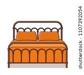retro bed. vector. outline... | Shutterstock .eps vector #1107392054