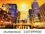 sunset in chicago  illinois   Shutterstock . vector #1107399500