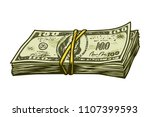 vintage colorful cash stack... | Shutterstock .eps vector #1107399593