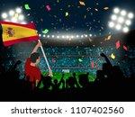 soccer supporter hold spain... | Shutterstock .eps vector #1107402560