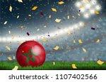 morocco soccer ball on field in ... | Shutterstock .eps vector #1107402566