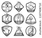 vintage hands labels set with... | Shutterstock .eps vector #1107408710