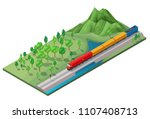 isometric railway logistic... | Shutterstock .eps vector #1107408713