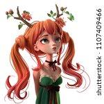 3d cartoon character red haired ... | Shutterstock . vector #1107409466