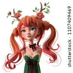 3d cartoon character red haired ... | Shutterstock . vector #1107409469