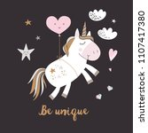 cute unicorn greeting card.... | Shutterstock .eps vector #1107417380