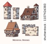 medieval ancient buildings set... | Shutterstock .eps vector #1107426383