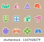 road color vector icons on... | Shutterstock .eps vector #1107428279