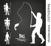 White fisherman silhouette of set isolated on black vector design illustration