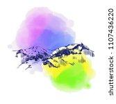 mountain landscape on... | Shutterstock .eps vector #1107436220