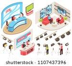tv studio of news and show... | Shutterstock .eps vector #1107437396