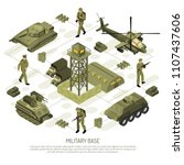 military vehicles isometric... | Shutterstock .eps vector #1107437606