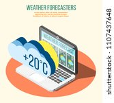 weather forecasters isometric... | Shutterstock .eps vector #1107437648