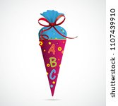candy cone with abc and red bow ...   Shutterstock .eps vector #1107439910