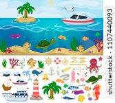 nautical navy boats marine... | Shutterstock .eps vector #1107440093