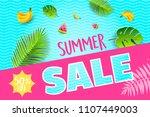 vector summer poster. paper cut ...   Shutterstock .eps vector #1107449003