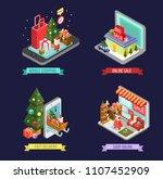 set of isometric christmas... | Shutterstock .eps vector #1107452909