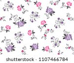 Stock vector roses pattern with leaves and ditsy flowers for fashion print textile pattern vector roses 1107466784