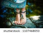 woman summer boho fashion style ... | Shutterstock . vector #1107468053