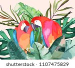 summer frame with tropical... | Shutterstock .eps vector #1107475829