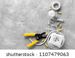 Electrician\'s Supplies On Grey...