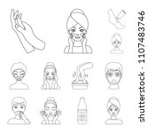 skin care outline icons in set... | Shutterstock . vector #1107483746