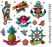 isolated old school tattoo... | Shutterstock .eps vector #1107491186