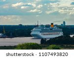 large royal cruise liner on the ... | Shutterstock . vector #1107493820