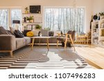 low angle of warm bright living ... | Shutterstock . vector #1107496283