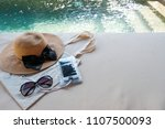 hat tote bag phone and sun... | Shutterstock . vector #1107500093