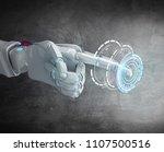 metallic robot hand point... | Shutterstock . vector #1107500516
