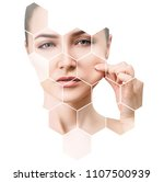 beautiful female face in... | Shutterstock . vector #1107500939