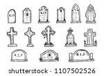 set of grave marker vector on...   Shutterstock .eps vector #1107502526