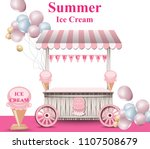 ice cream stand with balloons... | Shutterstock .eps vector #1107508679