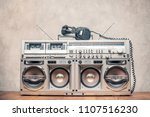 retro old ghetto blaster stereo ... | Shutterstock . vector #1107516230