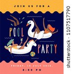 pool party invitation. summer... | Shutterstock .eps vector #1107517790