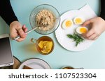 healthy breakfast. freelancer... | Shutterstock . vector #1107523304