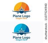 travel plane logo design | Shutterstock .eps vector #1107524540