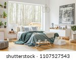 green and blue bedsheets on bed ... | Shutterstock . vector #1107527543