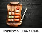 ginger  sushi and rolls         ... | Shutterstock . vector #1107540188