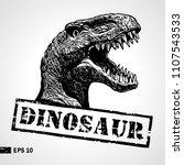 dinosaur head. sketch. vintage... | Shutterstock .eps vector #1107543533
