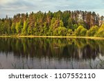 dawn on the lake. landscape... | Shutterstock . vector #1107552110