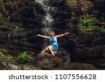 woman in hat enjoying nature... | Shutterstock . vector #1107556628