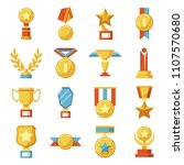 set of medals and cups  awards. ... | Shutterstock .eps vector #1107570680