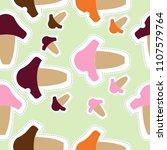 pattern of mushrooms   doodles  ... | Shutterstock . vector #1107579764