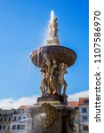 fountain on central town square ...   Shutterstock . vector #1107586970