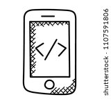 html source code on a mobile... | Shutterstock .eps vector #1107591806