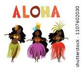 aloha hawaii card with hawaiian ... | Shutterstock .eps vector #1107602030