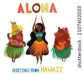 aloha hawaii card with hawaiian ... | Shutterstock .eps vector #1107602033