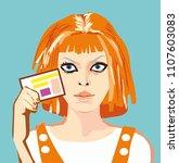 girl portrait. vector... | Shutterstock .eps vector #1107603083